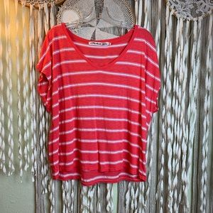 Michael Stars Coral and White Stripe Vneck Tee O/S